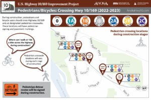 Highway crossing locations for pedestrians