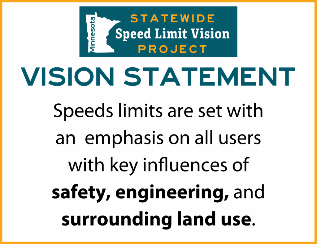 Vision Statement: Speed limits are set with an emphasis on all users with key influences of safety, engineering, and surrounding land use.
